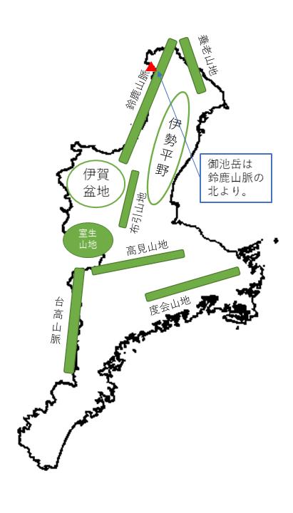 三重県御池岳 所在地概略図