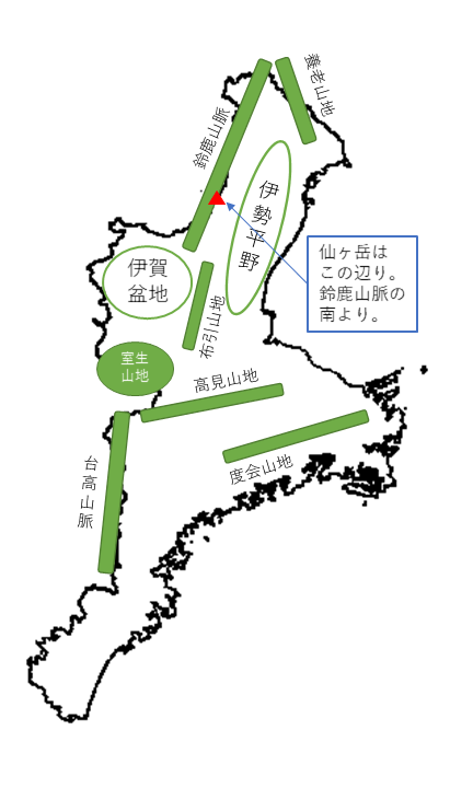 三重仙ヶ岳 所在地概略図