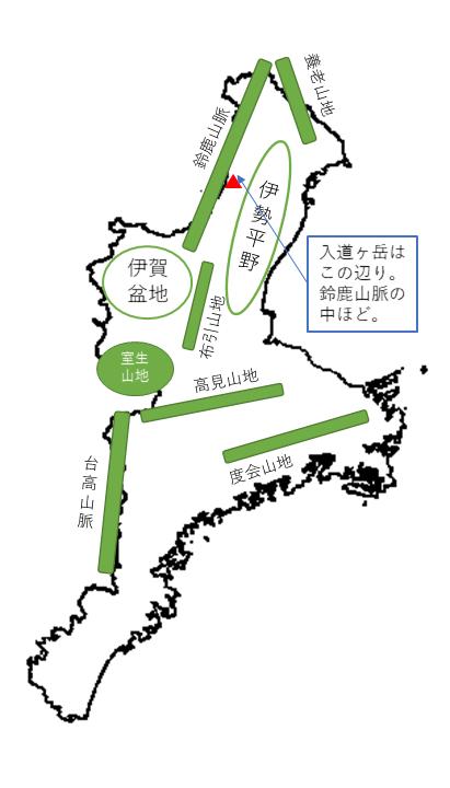 三重入道ヶ岳 所在地概略図
