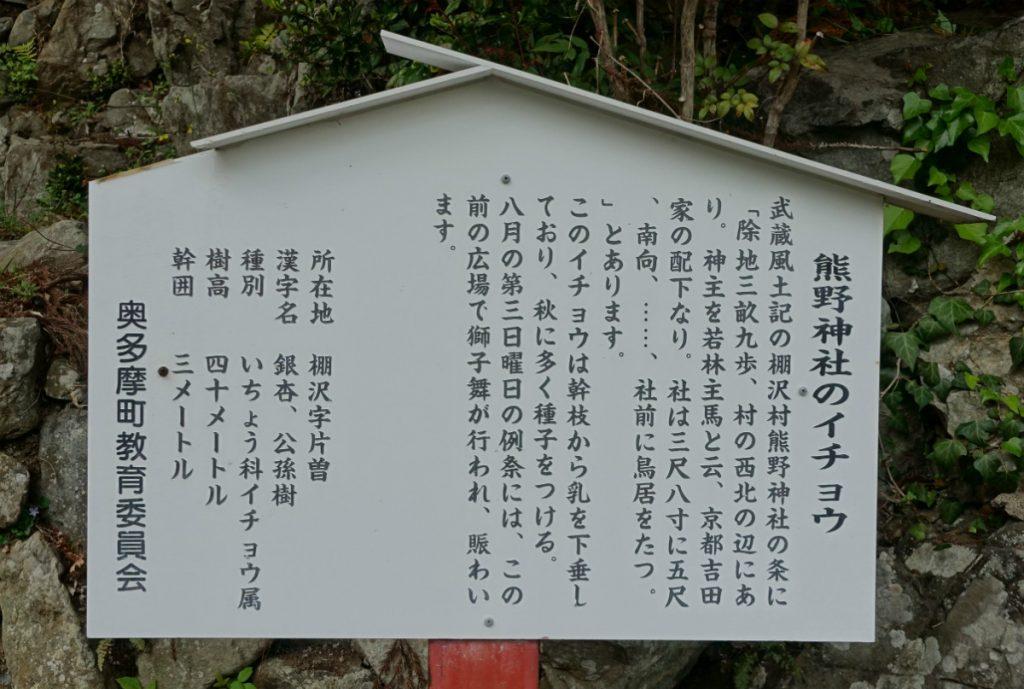 東京本仁田山 熊野神社案内看板