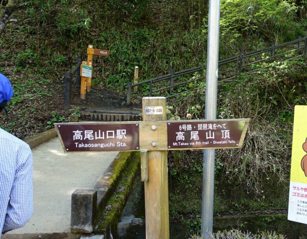 東京高尾山 6号路と稲荷山ルートの分岐点