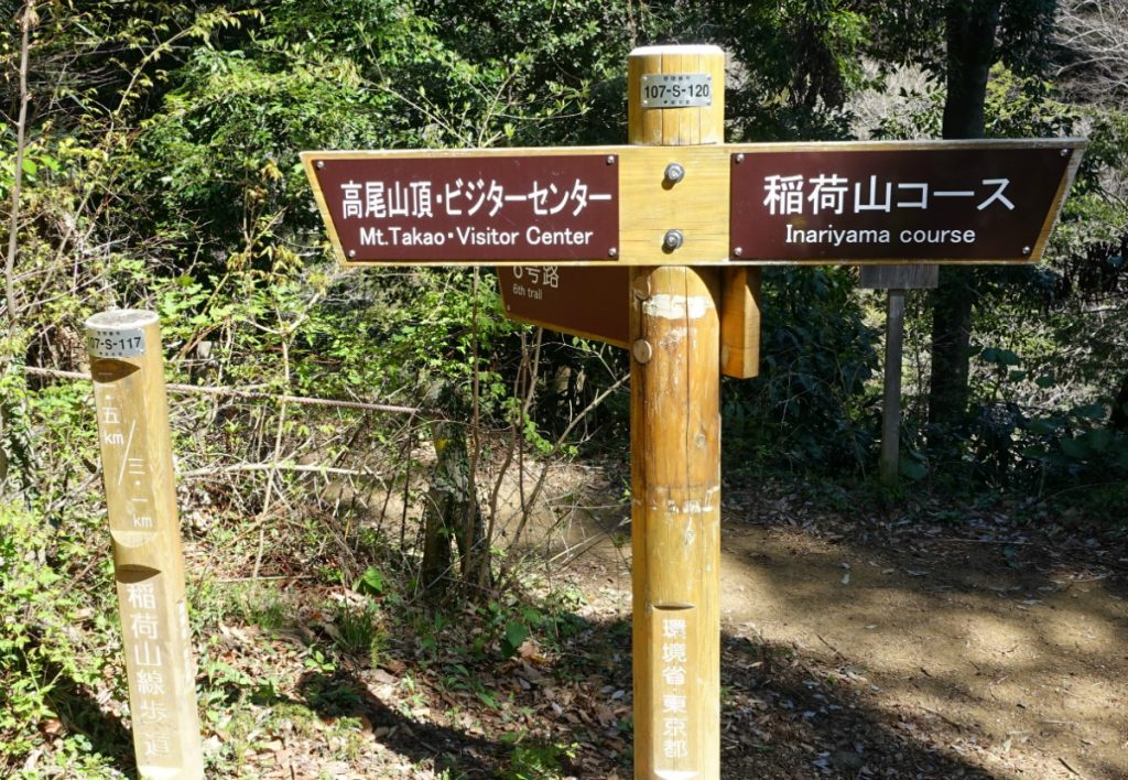 東京高尾山稲荷山ルート分岐道標