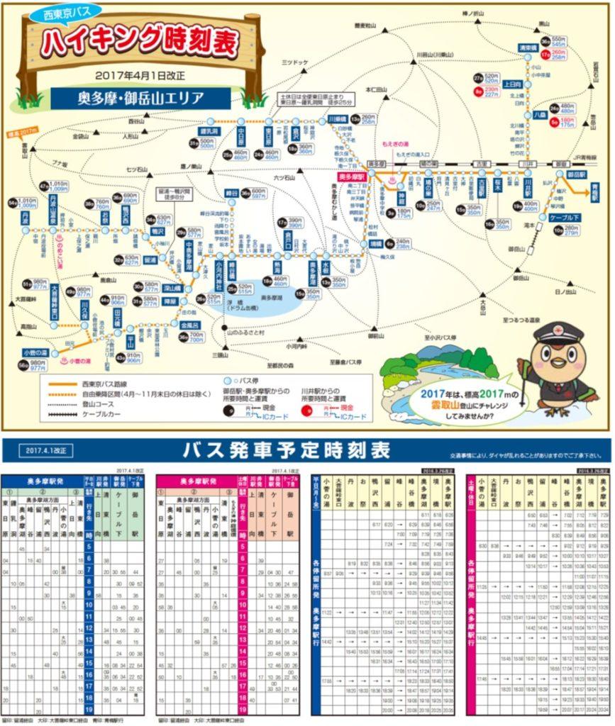 参照 西東京バス 2017年版 ハイキング時刻表