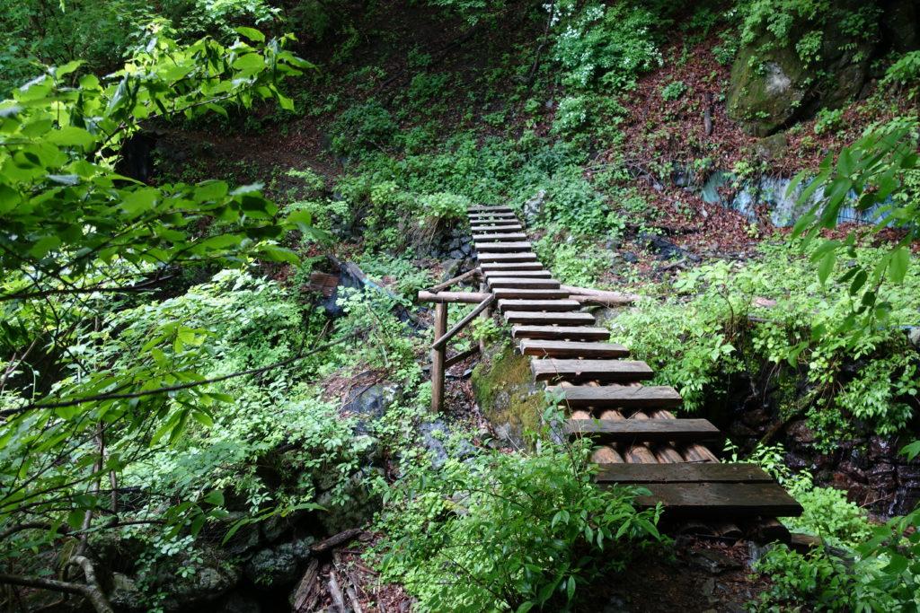 東京 六ツ石山 水根沢ルートの木橋