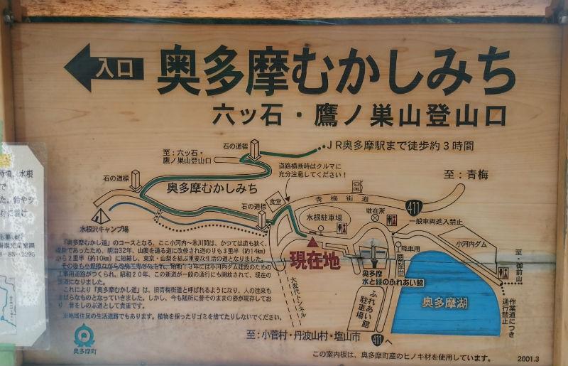 東京 六ツ石山 水根バス停の登山口への案内板