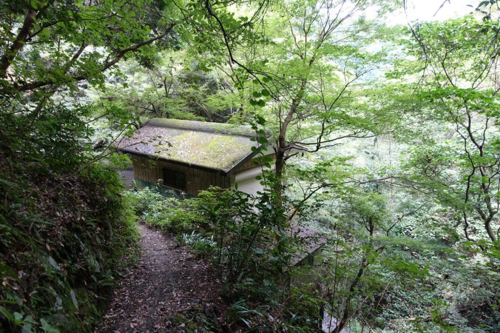 初秋高尾山33 蛇滝 水行の建物屋根